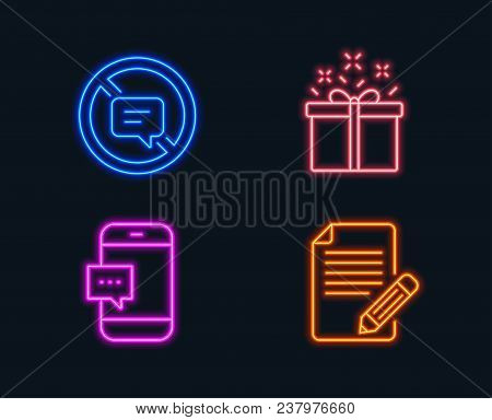 Neon Lights. Set Of Special Offer, Stop Talking And Smartphone Message Icons. Article Sign. Delivery