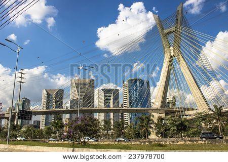 Sao Paulo, Brazil, July 10, 2017. View Of The Octavio Frias De Oliveira Bridge, Known As The Estaiad