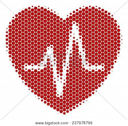 Halftone Dot Cardiology Icon. Pictogram On A White Background. Vector Mosaic Of Cardiology Icon Desi