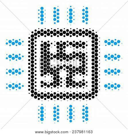 Halftone Round Spot Cpu Circuit Icon. Pictogram On A White Background. Vector Collage Of Cpu Circuit