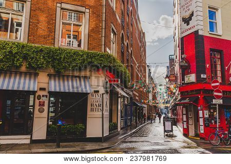 Dublin, Ireland- April 25th, 2018: Detail Of The Historical Dame Lane In Dublin City Centre With Its