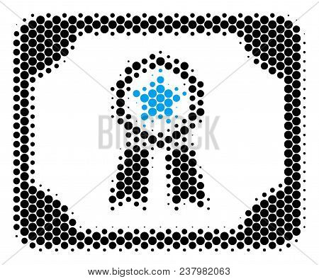 Halftone Circle Diploma Icon. Pictogram On A White Background. Vector Pattern Of Diploma Icon Constr