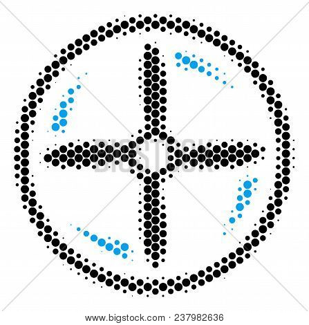 Halftone Round Spot Drone Screw Rotation Icon. Pictogram On A White Background. Vector Pattern Of Dr