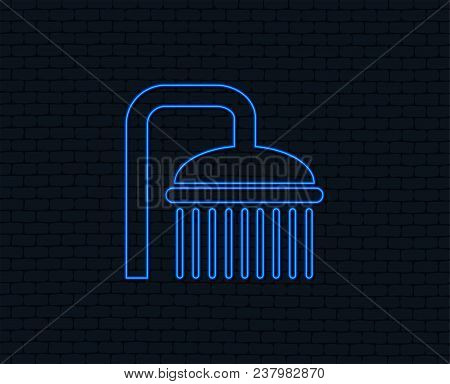 Neon Light. Shower Sign Icon. Douche With Water Drops Symbol. Glowing Graphic Design. Brick Wall. Ve
