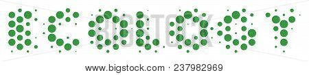 Halftone Dot Ecology Text Icon. Pictogram On A White Background. Vector Collage Of Ecology Text Icon