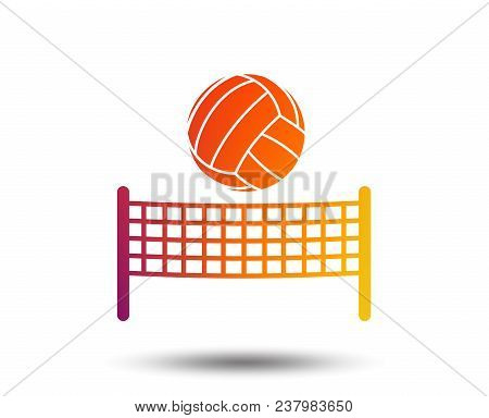 Volleyball Net With Ball Sign Icon. Beach Sport Symbol. Blurred Gradient Design Element. Vivid Graph