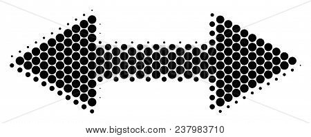 Halftone Circle Exchange Arrows Icon. Pictogram On A White Background. Vector Composition Of Exchang