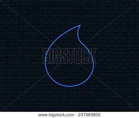 Neon Light. Water Drop Sign Icon. Tear Symbol. Glowing Graphic Design. Brick Wall. Vector