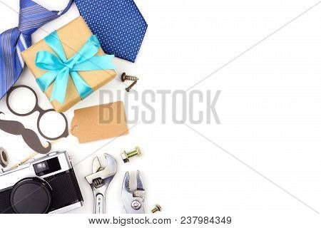 Fathers Day Side Border Of Gifts, Ties And Decor Isolated On A White Background. Top View With Copy