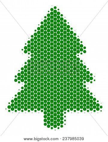 Halftone Round Spot Fir-tree Icon. Pictogram On A White Background. Vector Mosaic Of Fir-tree Icon C