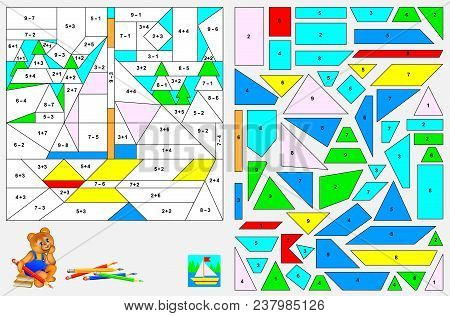 Logic Puzzle Game For Children. Need To Solve Examples, Find The Figures And Paint The Image In Rele