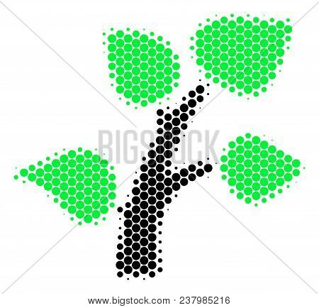 Halftone Round Spot Flora Plant Icon. Pictogram On A White Background. Vector Collage Of Flora Plant