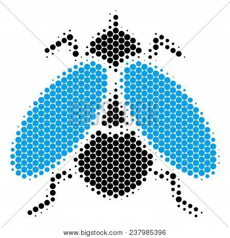 Halftone Round Spot Fly Insect Icon. Pictogram On A White Background. Vector Concept Of Fly Insect I