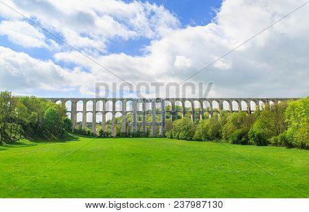 Landscape Of Chaumont Viaduct, France. Important Railroad Line Paris-basel.
