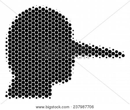 Halftone Round Spot Lier Icon. Pictogram On A White Background. Vector Collage Of Lier Icon Construc