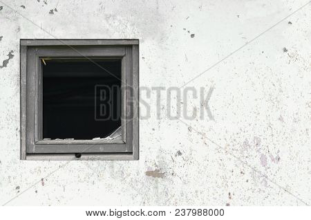 Old Aged Rusted Grey White Shack Hut Wall Paint, Broken Window Glass Wooden Frame, Weathered Grungy