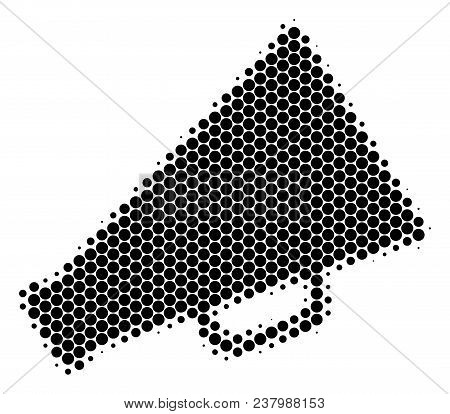Halftone Circle Megaphone Icon. Pictogram On A White Background. Vector Collage Of Megaphone Icon Co