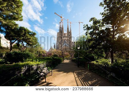 Barcelona, Spain - April 10,2018 : View Of The Sagrada Familia, A Large Roman Catholic Church In Bar