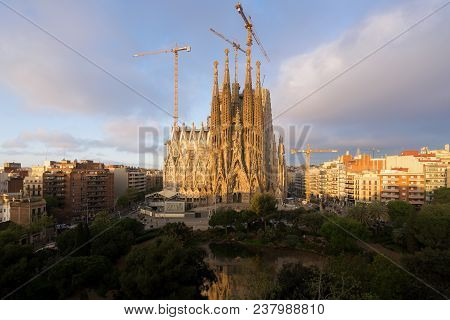 Barcelona, Spain - April 9,2018 : Aerial View Of The Sagrada Familia, A Large Roman Catholic Church