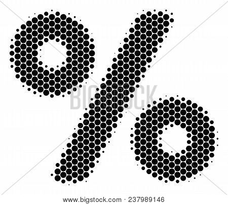 Halftone Dot Percent Icon. Pictogram On A White Background. Vector Collage Of Percent Icon Construct