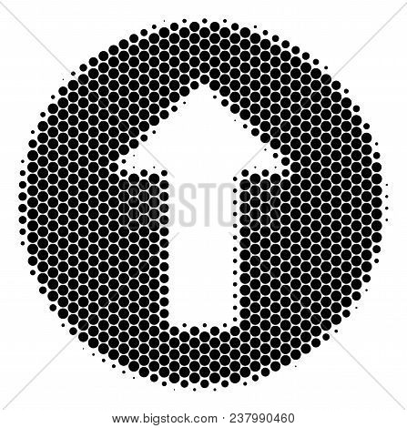 Halftone Round Spot Rounded Arrow Icon. Pictogram On A White Background. Vector Concept Of Rounded A