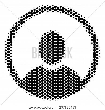 Halftone Circle Rounded User Portrait Icon. Pictogram On A White Background. Vector Pattern Of Round