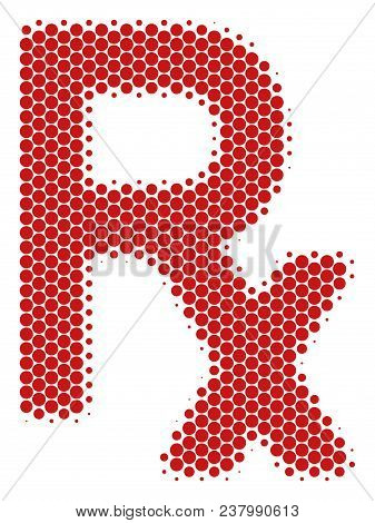 Halftone Dot Rx Symbol Icon. Pictogram On A White Background. Vector Concept Of Rx Symbol Icon Combi
