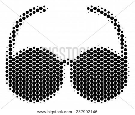 Halftone Circle Spectacles Icon. Pictogram On A White Background. Vector Mosaic Of Spectacles Icon C