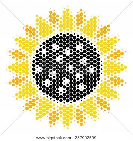 Halftone Dot Sunflower Icon. Pictogram On A White Background. Vector Mosaic Of Sunflower Icon Combin