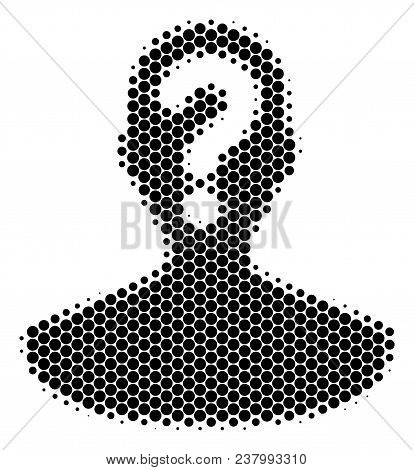 Halftone Dot Unknown Person Icon. Pictogram On A White Background. Vector Composition Of Unknown Per