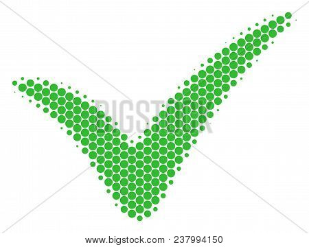 Halftone Round Spot Yes Icon. Pictogram On A White Background. Vector Collage Of Yes Icon Done Of Sp