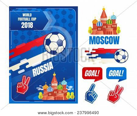 World Football Cup In Russia, Poster Design Elements Template, Vector Illustration With Soccer Ball,