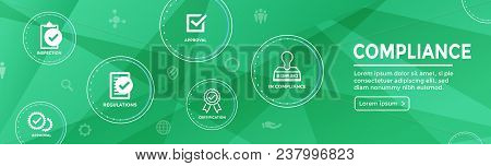 In Compliance Web Banner With Icon Set That Shows A Company Passed Inspection