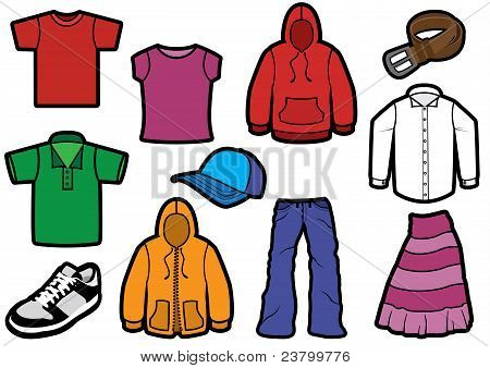 Clothing symbol set with bold outlines.