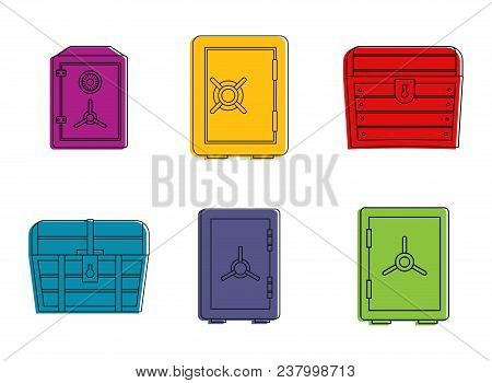 Safe Icon Set. Color Outline Set Of Safe Vector Icons For Web Design Isolated On White Background