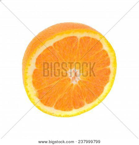 Ripe Half Of Orange Citrus Fruit Isolated On White Background. Orange Half With Clipping Path