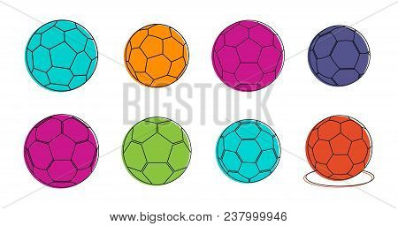Soccer Ball Icon Set. Color Outline Set Of Soccer Ball Vector Icons For Web Design Isolated On White