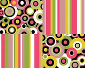 Collage of brightly colored circles and stripes in four corners poster