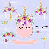 Vector set with Unicorn, Tiara, Horn, flower wreath. Unicorn symbols as patch, stick cake topper, sticker, drink topper. Props for baby birth, Unicorn, Birthday party, First Birthday anniversary poster