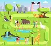 Cartoon zoo with visitors and safari animals. Happy families with kids in zoological park vector illustration. Family with kids in zoo, giraffe and elephant poster