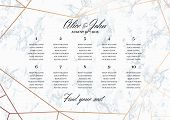 Wedding Seating Chart Poster Template.. Geometric design in rose gold on the marble background. Dimensions horizontal A3 format. Seamless marble pattern in the palette. poster