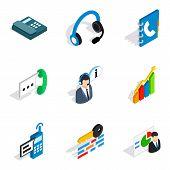 Server setup icons set. Isometric set of 9 server setup vector icons for web isolated on white background poster