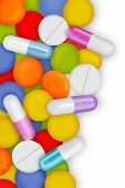 Capsules and pills are important for the health. poster