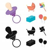 Stroller, windmill, lego, balloons.Toys set collection icons in cartoon, black style vector symbol stock illustration . poster