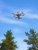 copter flying in the sky over the trees poster