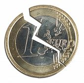 Split euro coin - metaphor for problems in Europe (the Eurozone) poster