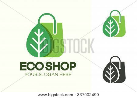 Vector Eco Shop Logo Consisting Of Shopping Bag And Leaf Green Color Isolated On Background For Farm