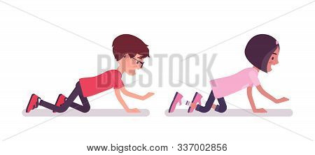 School Boy, Girl Playing Crawling On Hands And Knees, Creeping. Cute Small Children, Active Young Fr