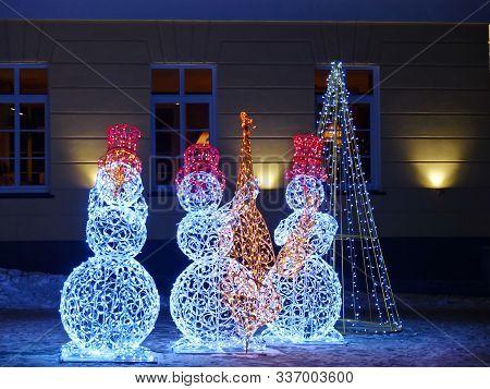 Jazz Band Of Merry Snowmen. New Years Eve Ensemble. Concert All Night. New Year Illumination 2020. T