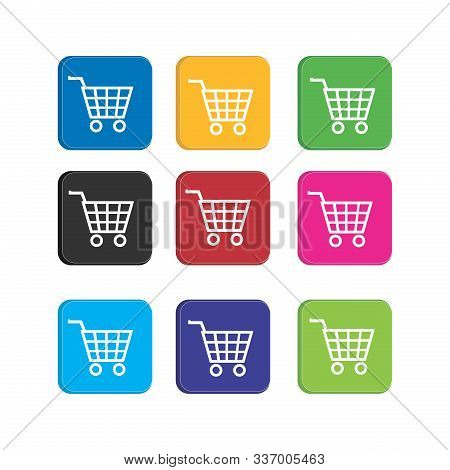 Set Colorful Cart Or Trolly Icon For Smart Phone Application And Web Icon